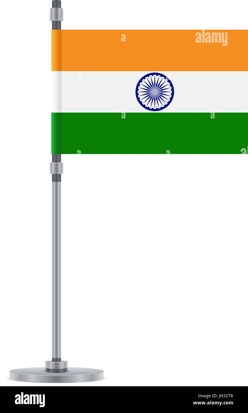 Flag design. Indian flag on the metallic pole. Isolated template for ...