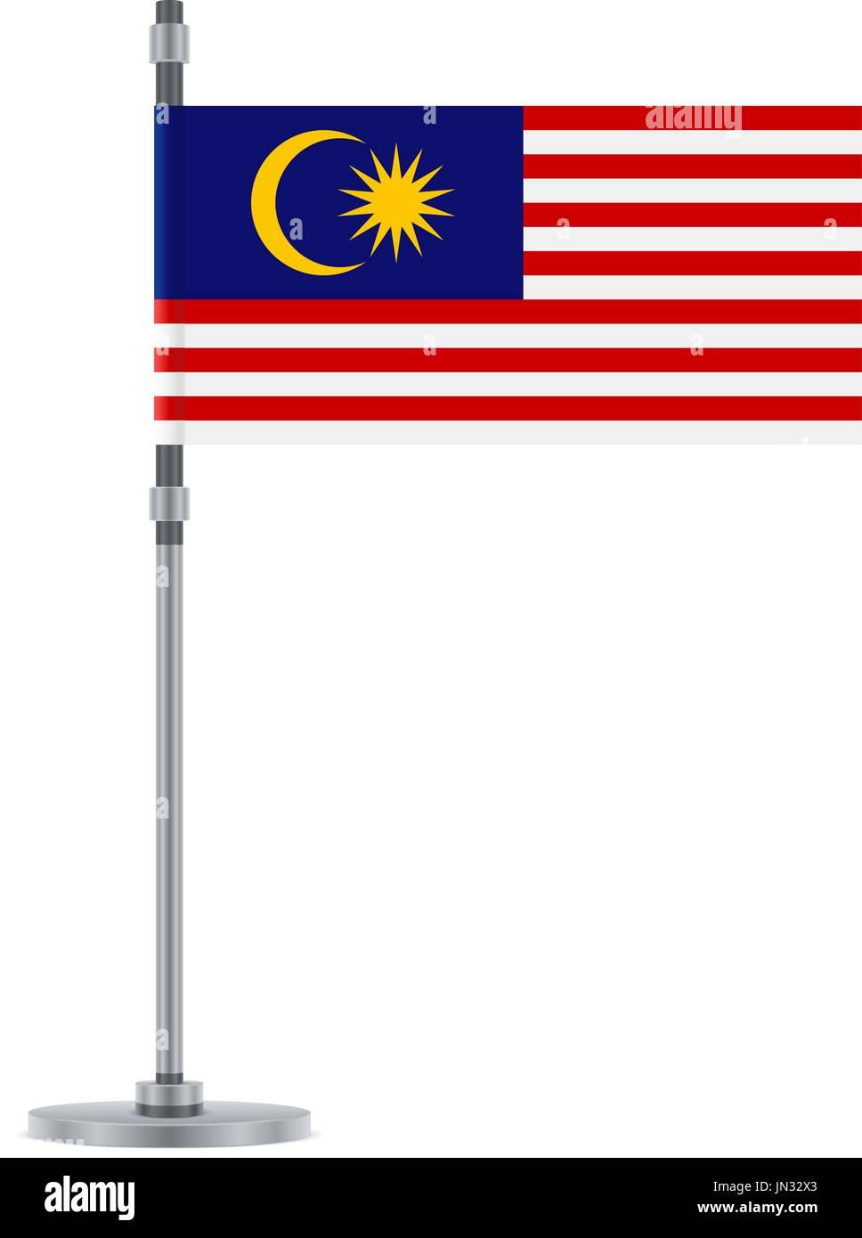 Flag design  Malaysian flag on the metallic pole  Isolated template