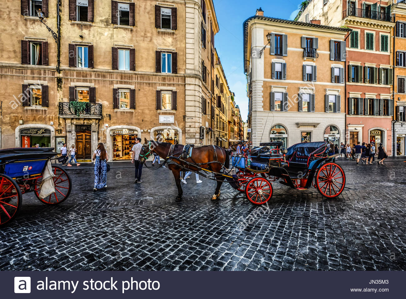 Warm summer day in Rome Italy as a horse and carriage for hire wait for tourists - Stock Image