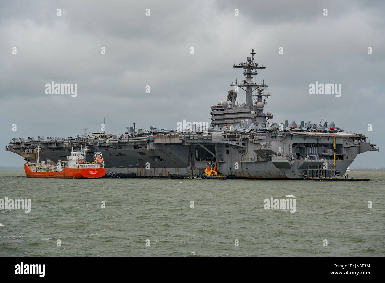 US Navy nuclear powered warship, the aircraft carrier USS George H W Bush on a visit to Portsmouth, UK by the United Stock Photo