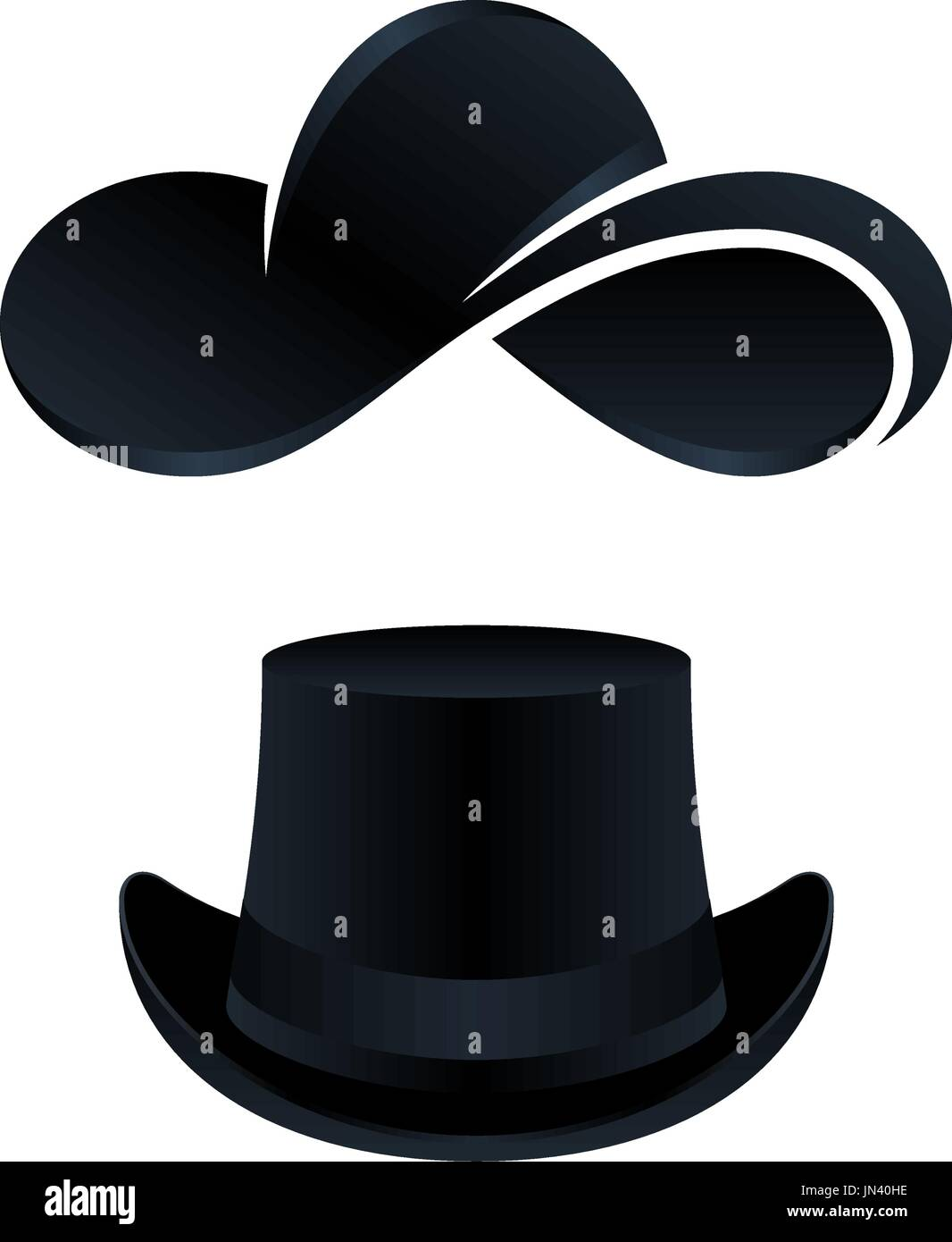 61fb1f45e7975 Design of black hat icons for men and women on white background. Vector  illustration icons.