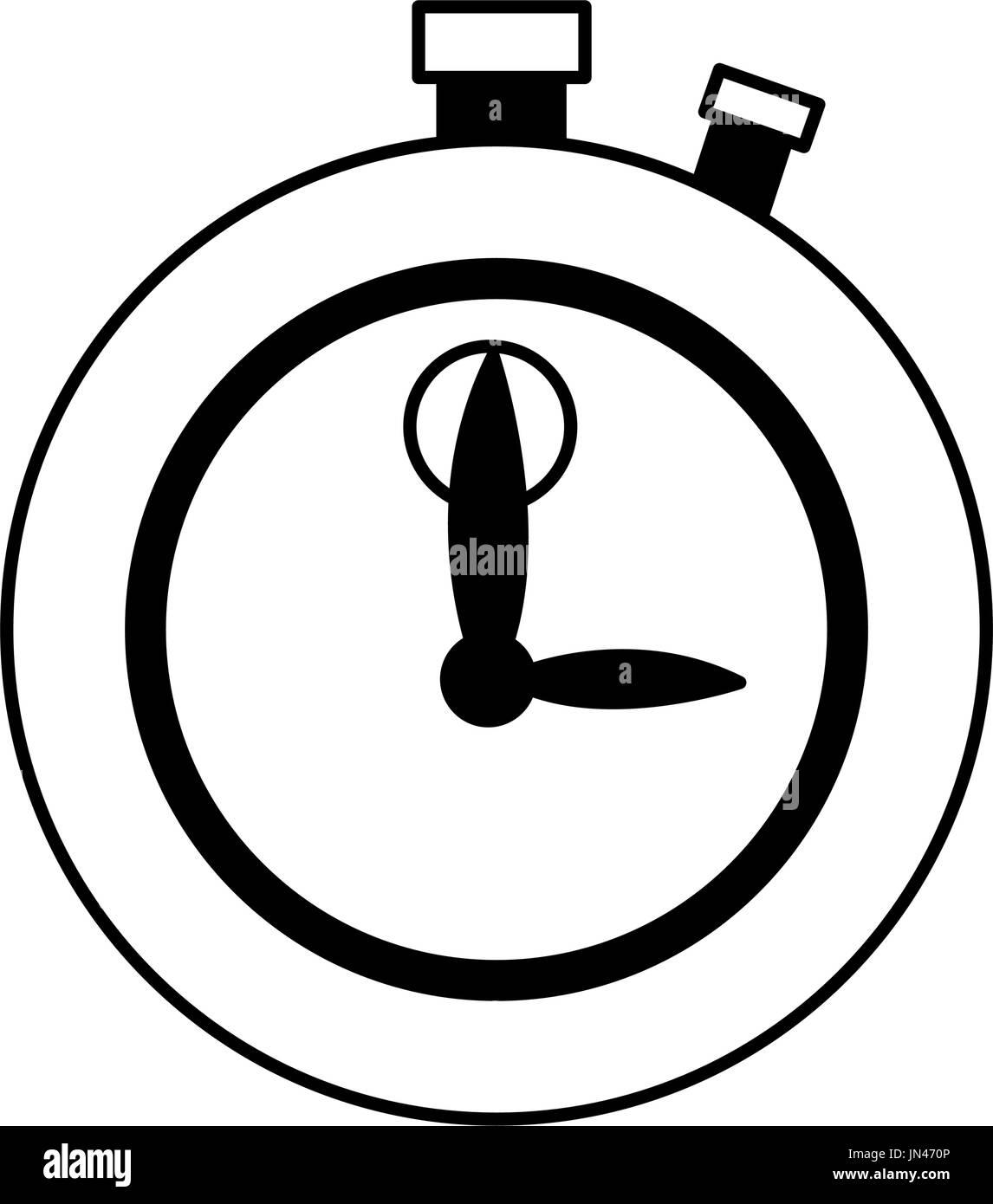 stopwatch chronometer precision timepiece flat icon - Stock Image