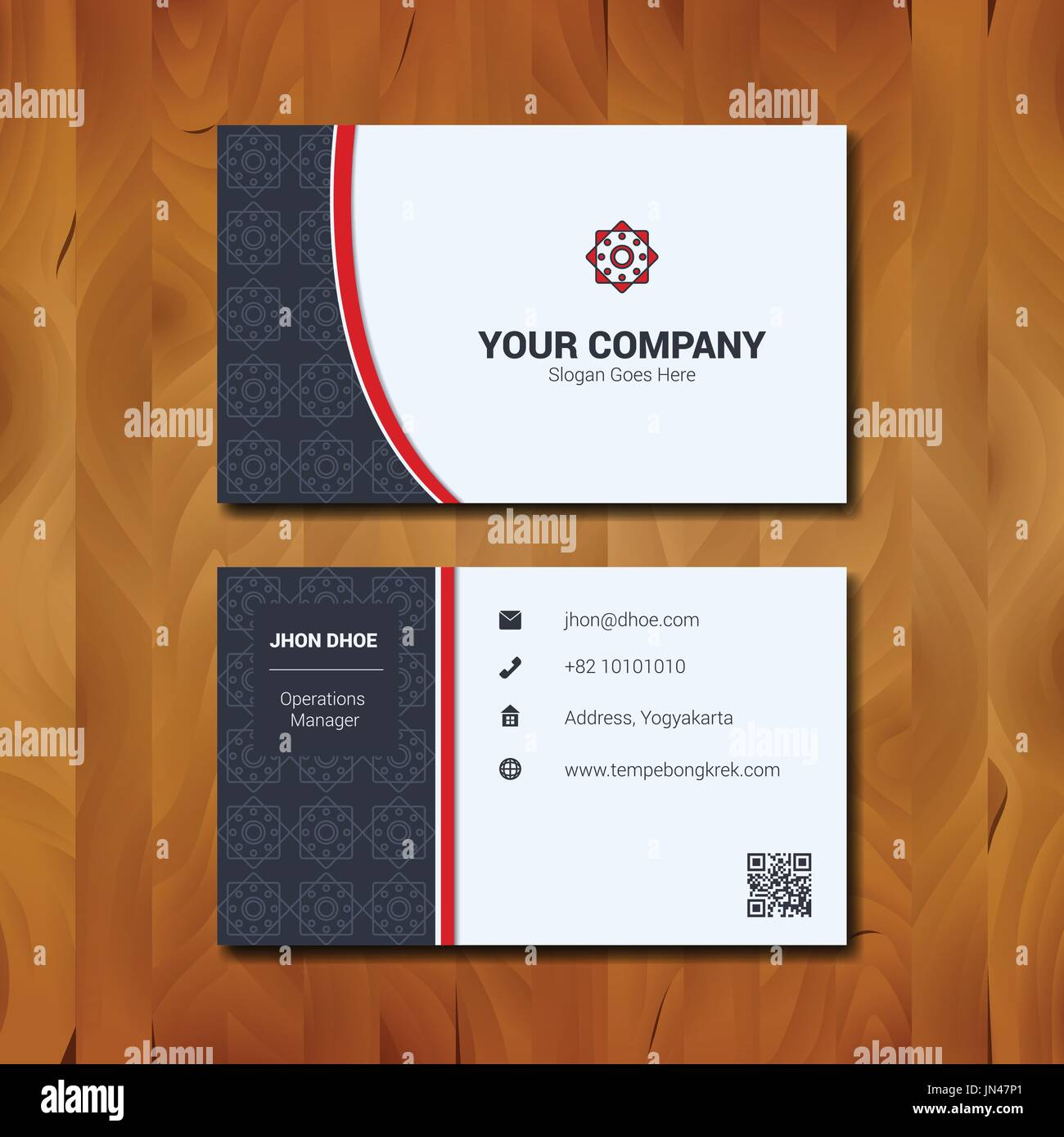Simple business card template design with company logo on wood stock simple business card template design with company logo on wood background flashek Gallery