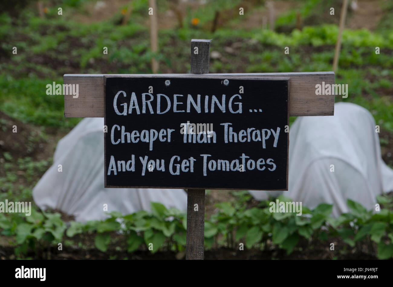 Sign in Community garden, Yarmouth Maine, USA - Stock Image