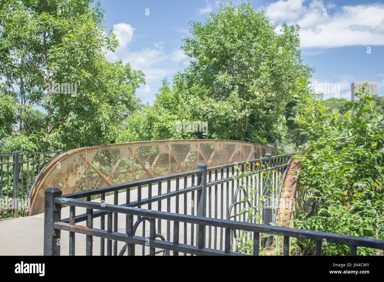Bridge in the middle of Loring Park in Minneapolis, MN - Stock Image