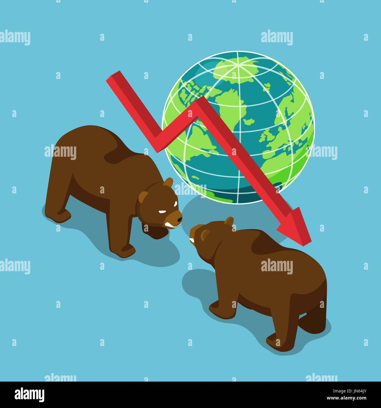 Flat 3d isometric bears fighting with world and falling graph. Bearish stock market and financial concept. - Stock Vector