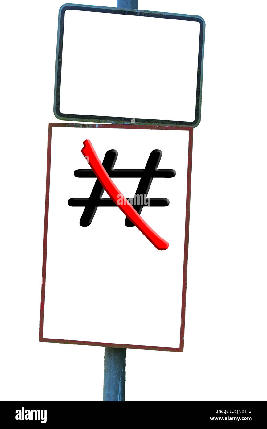 Traffic sign in front of white background the sign Hashtag # red crossed out. - Stock Image