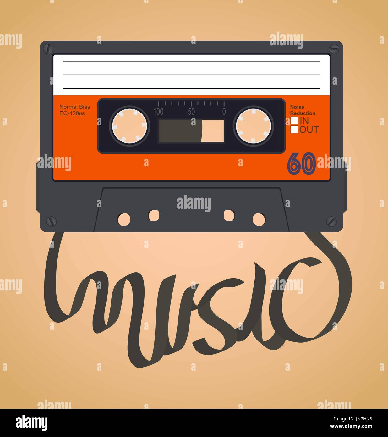 Audio cassette tape which with the film forms the word music - Stock Vector