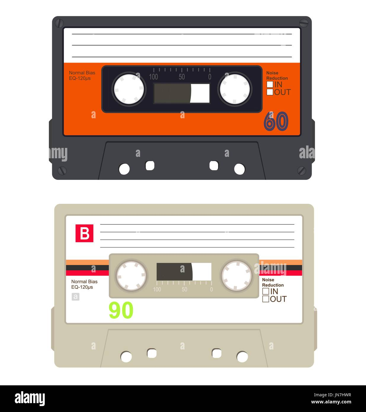 Retro audio tape cassette set isolated on a white background. - Stock Vector