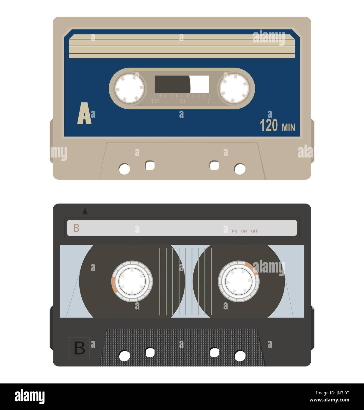 Retro audio tape cassette set isolated on a white background. - Stock Image