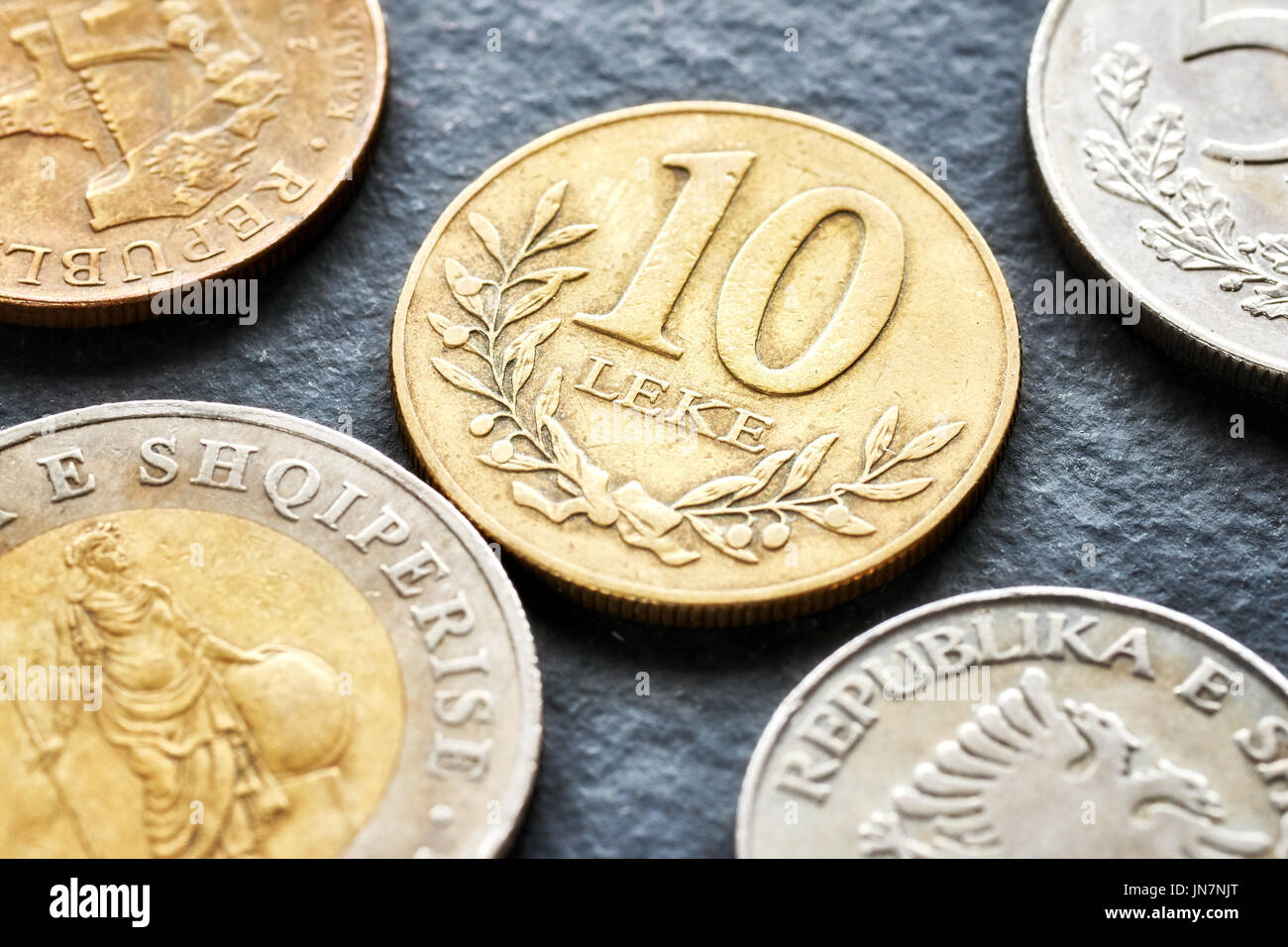 Close up picture of Albanian lek coins, shallow depth of field. - Stock Image