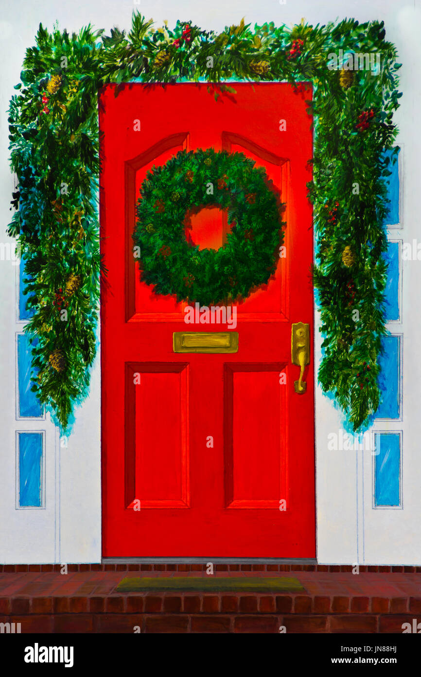 A Red Front Door Has An Evergreen Wreath And A Green Garland Stock