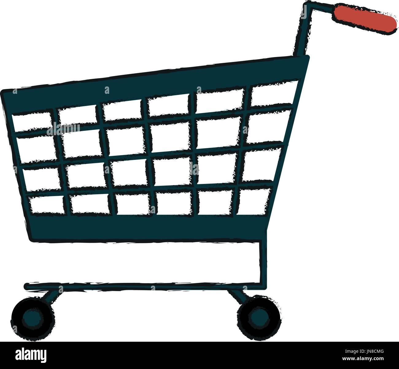 shopping cart vector illustration - Stock Image