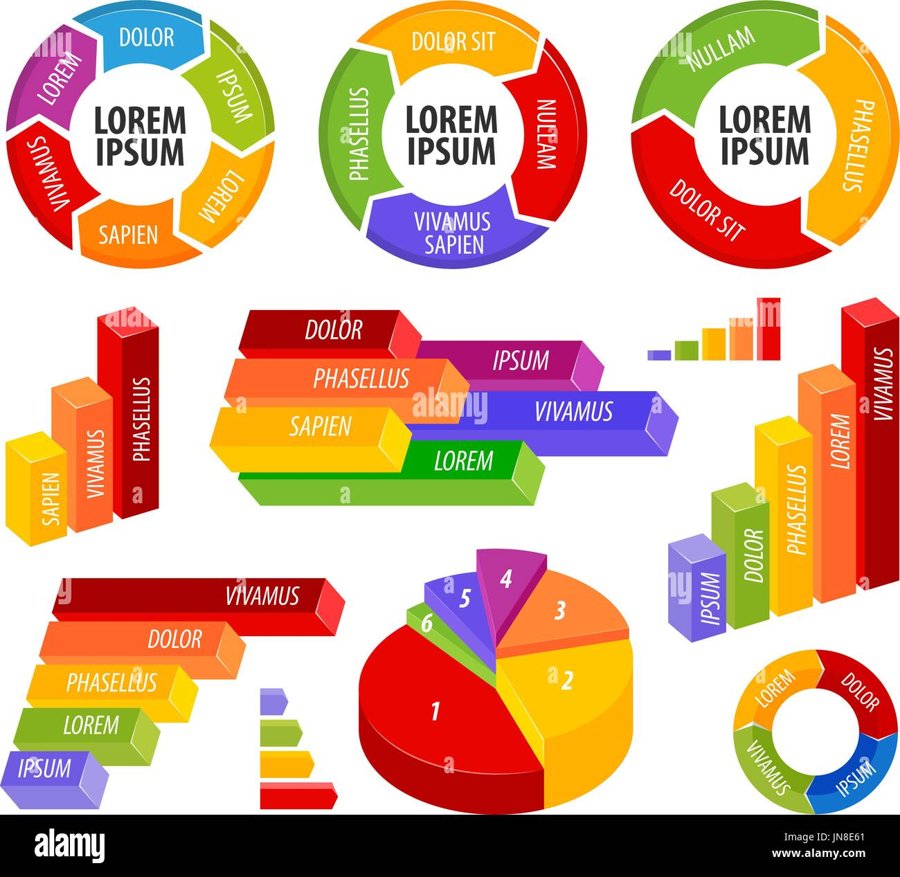 Business infographics. Chart, graph, diagram, graphic, statistics set icons. Vector illustration - Stock Image