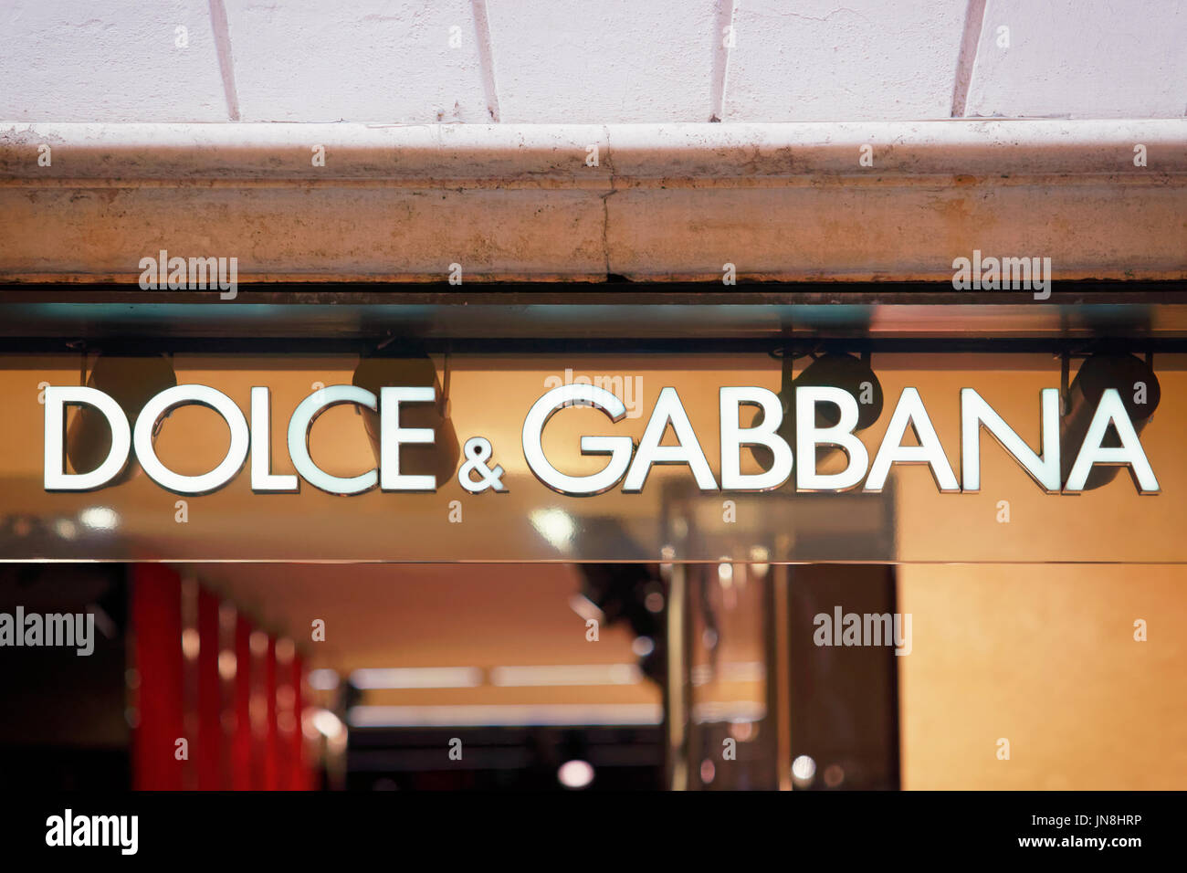 Rome, Italy - October 14, 2016: Dolce Gabbana Sign of street shop window in Rome. - Stock Image