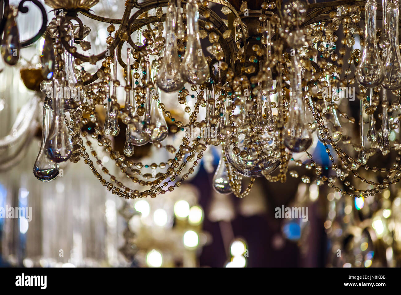 Vintage crystal luster in antique shop, Belgium Stock Photo ...