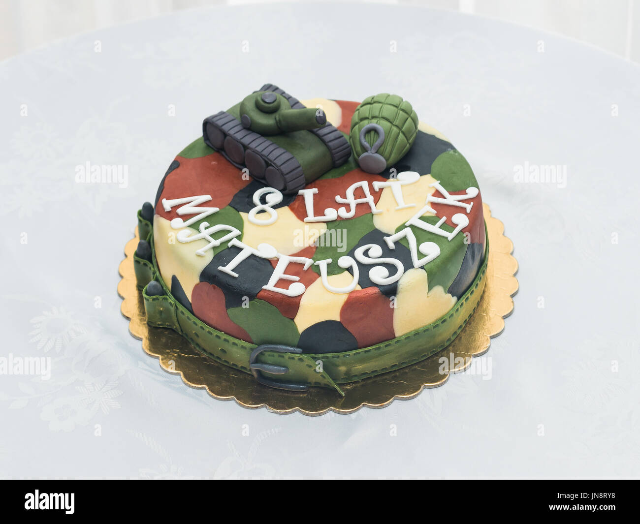 Terrific Birthday Cake For Military Lovers Stock Photo 150785132 Alamy Personalised Birthday Cards Paralily Jamesorg