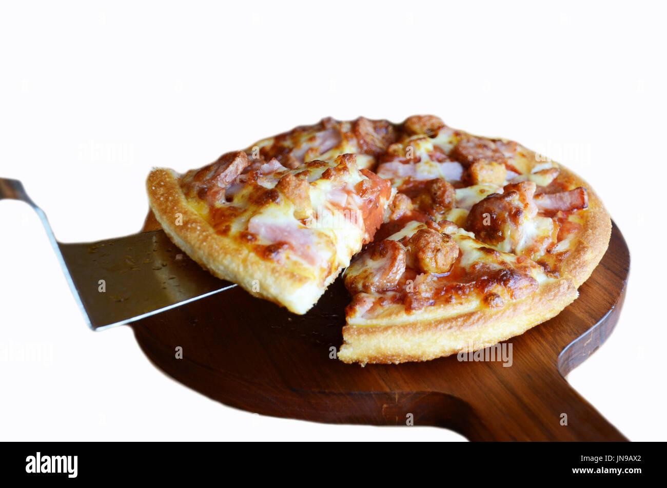 pizza on white background - Stock Image