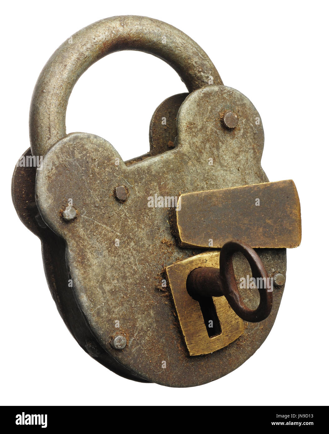 An old padlocked locked shut with the key in the lock - Stock Image