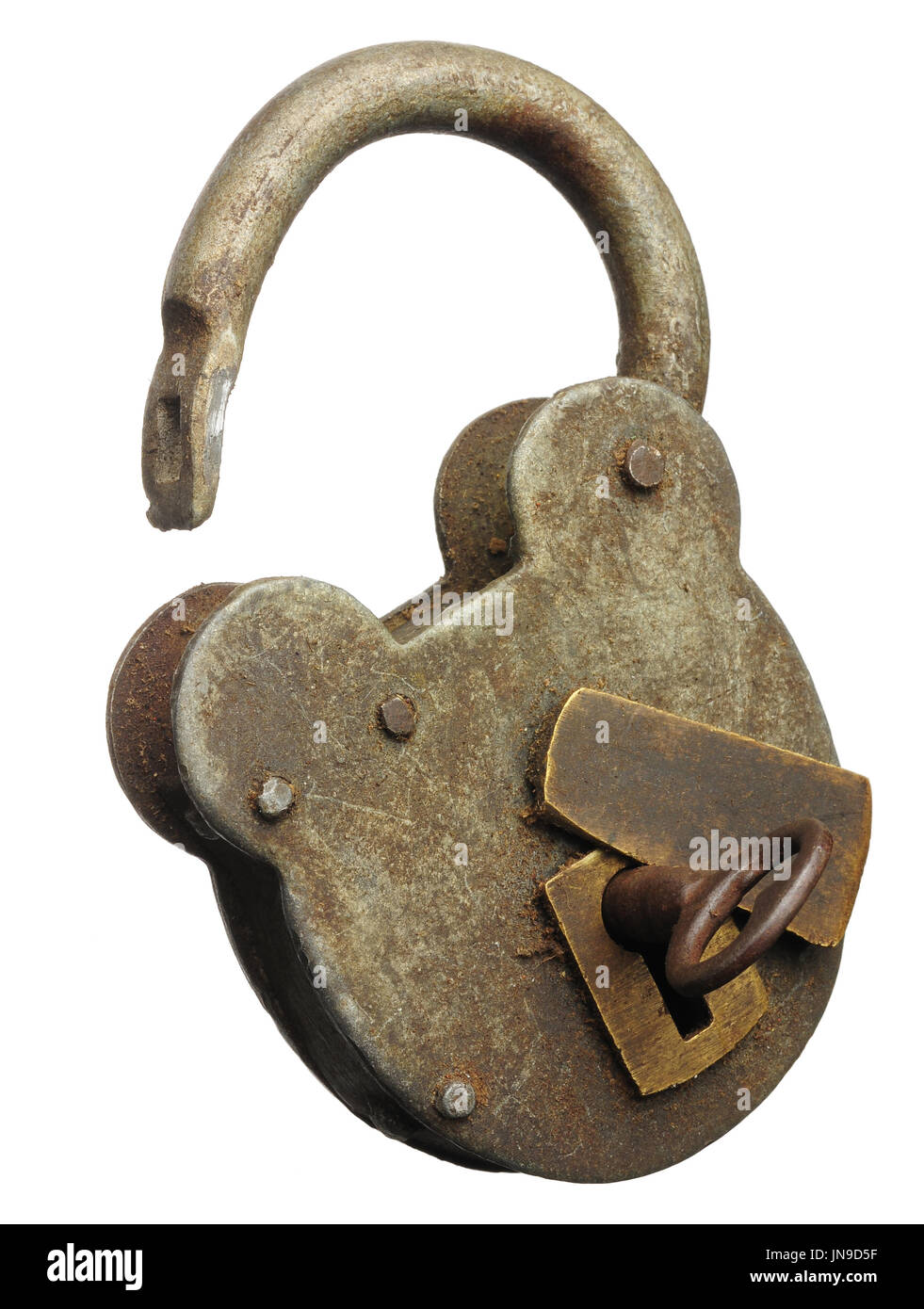 An old padlock opened with the key in the lock - Stock Image