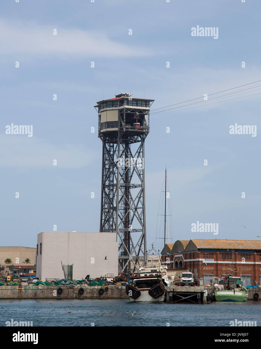 The end tower of the cable car to Mont Juic in Barcelona, Spain - Stock Image