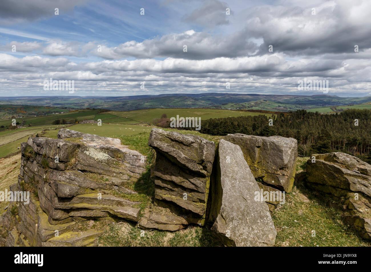 windgather rocks, peak district national park, derbyshire, england, uk, gb - Stock Image
