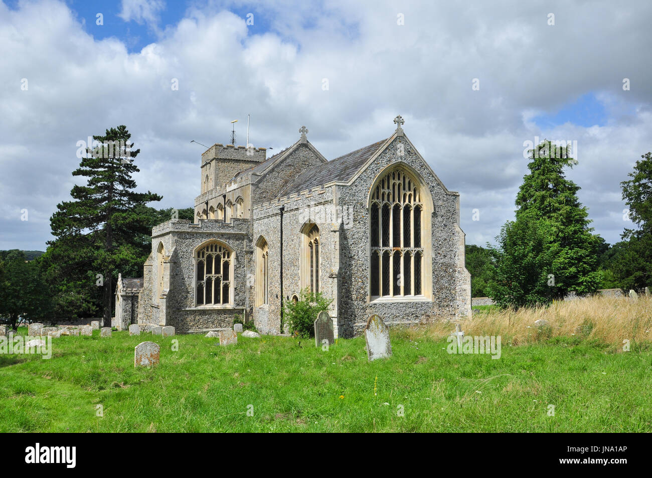 St Peter's Church in the village of Moulton, Suffolk, England, UK - Stock Image