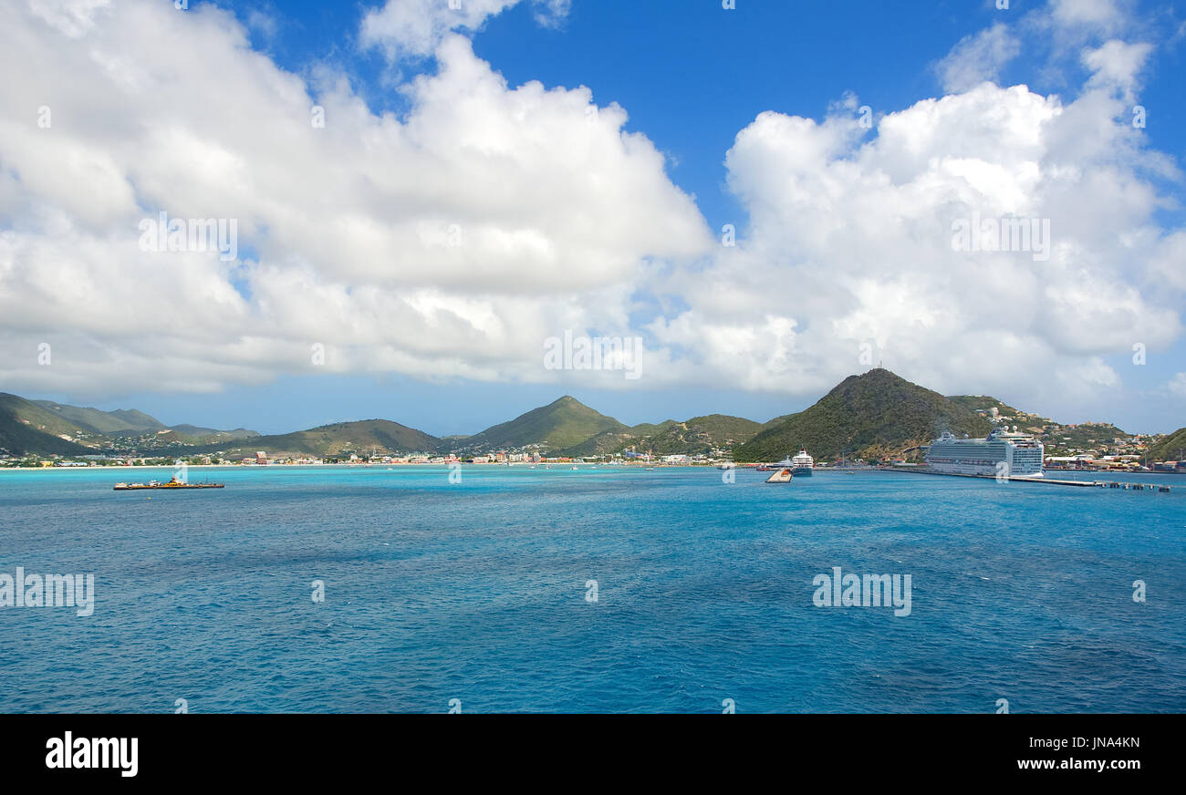 Simpson Bay and Great Bay - Philipsburg Sint Maarten ( Saint Martin ) - Caribbean tropical island - Stock Image