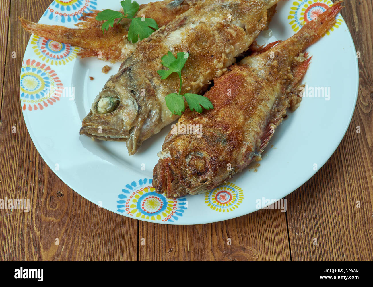 Salmonetes Con Fritura Andaluza Fried In A Frying Pan Fish Spanish Stock Photo Alamy