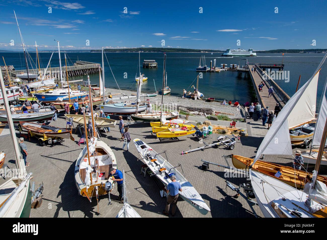 Port Townsend Pocket Yacht Palooza boat show at the Northwest Maritime Center. - Stock Image
