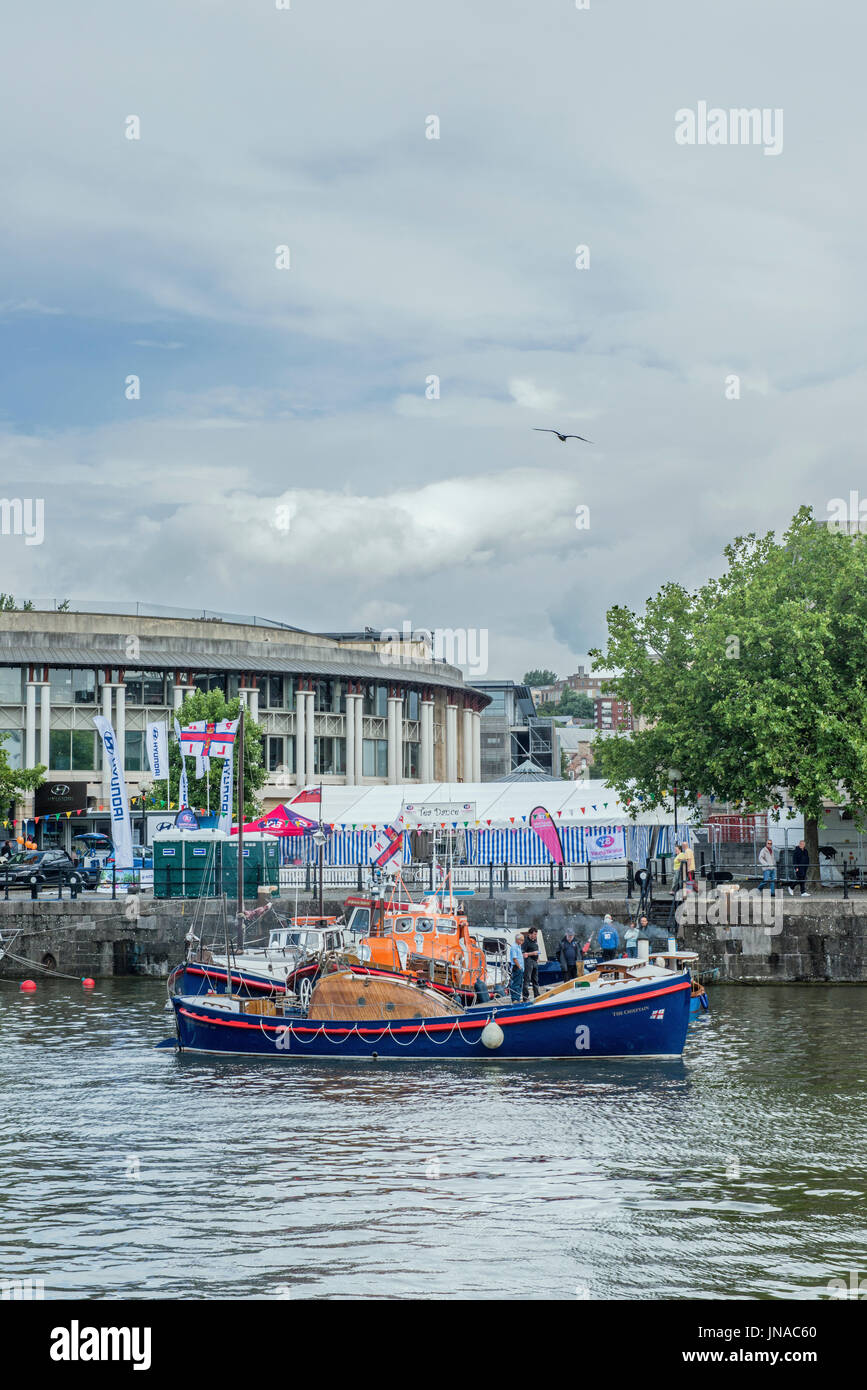 Old Lifeboats displayed at Bristol Harbour Festival July 2017 - Stock Image