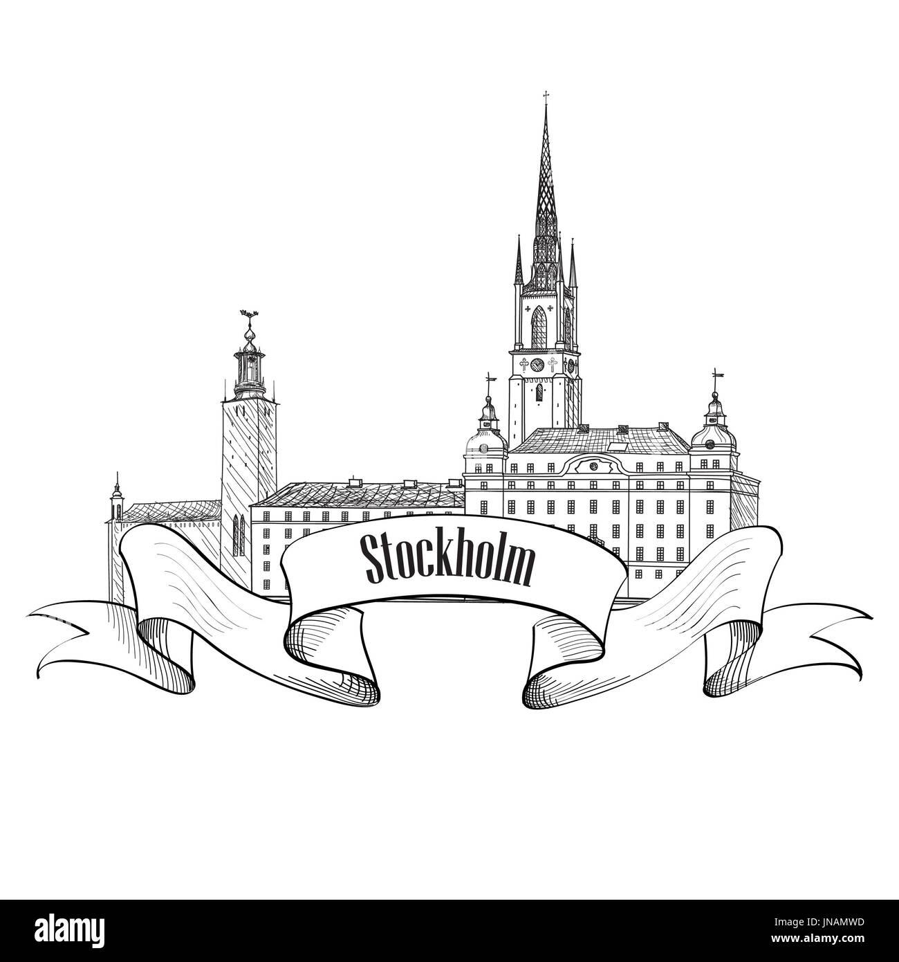 Stockholm label isolated. Travel Sweden symbol. Stockholm Old Town architecture detailed skyline. Vector landmark building illustration.FstF - Stock Image