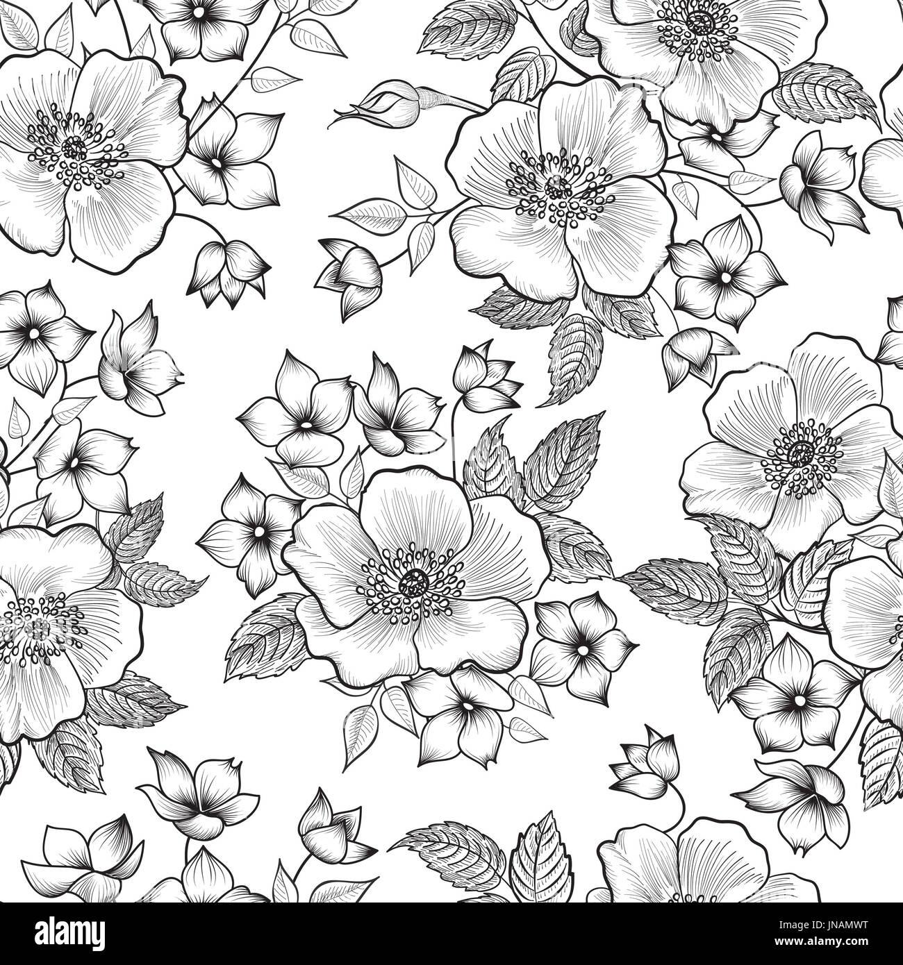 Elegant black white flower seamless stock photos elegant black floral seamless pattern abstract flower background floral seamless texture with flowers stock mightylinksfo