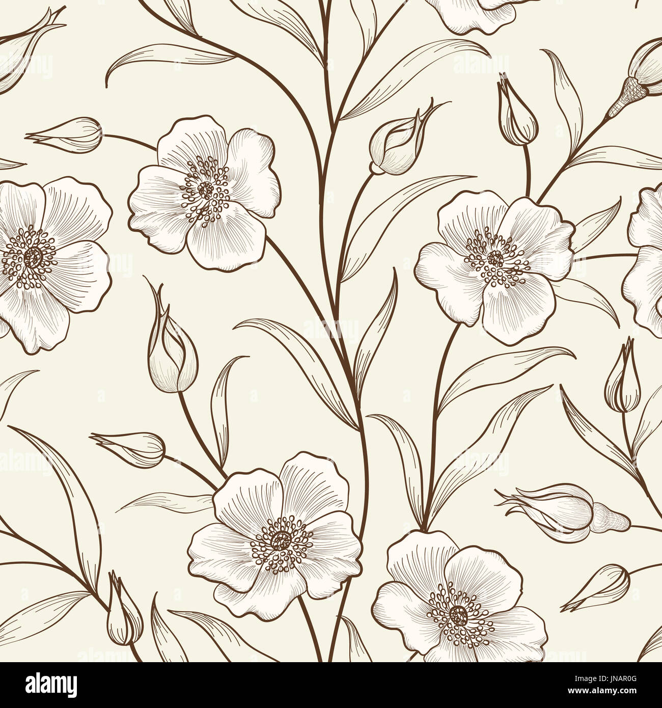 Floral seamless outline sketch pattern. Flower background. Floral tile spring texture with flowers Ornamental flourish garden cover for card design - Stock Image