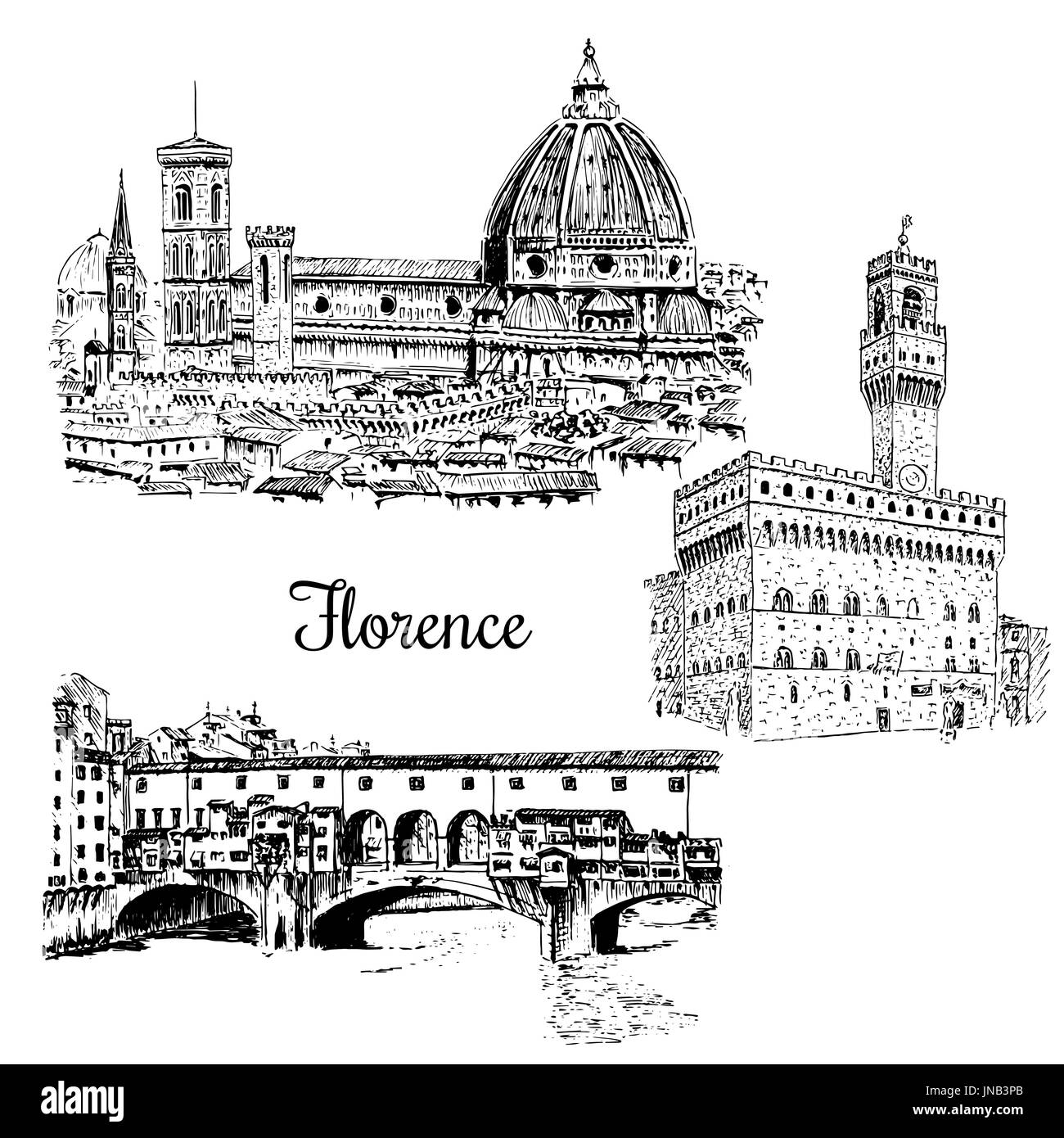 set of Florence Ponte Vecchio bridge in , Italy. Vector hand drawn sketch - Stock Vector