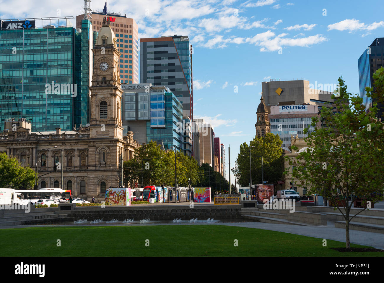 Adelaide city skyline seen from Victoria square. South Australia. - Stock Image