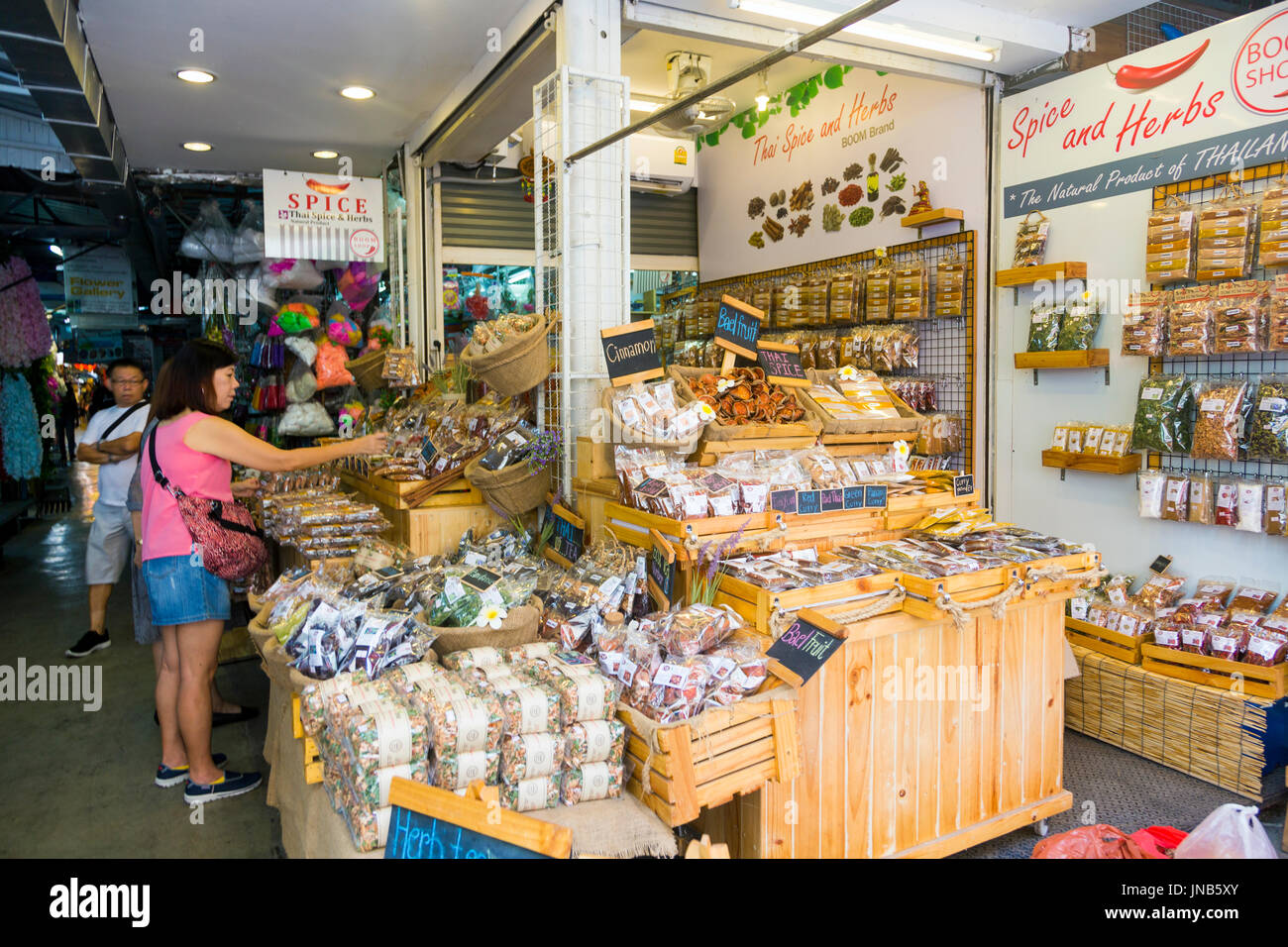 Spices and herbs stall at Chatuchak Market, Bangkok, Thailand - Stock Image