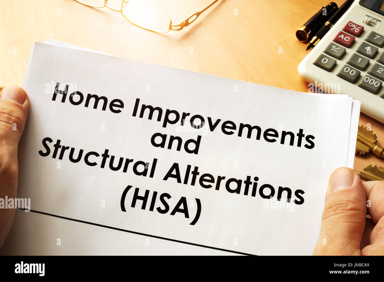 Document with name Home Improvements and Structural Alterations (HISA) - Stock Image