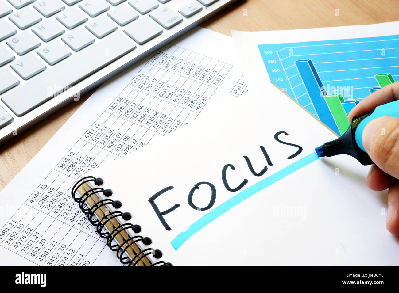 Focus written in a note. Business concept. - Stock Image