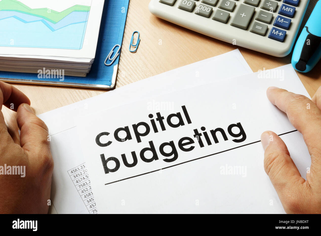 Papers with title capital budgeting. - Stock Image