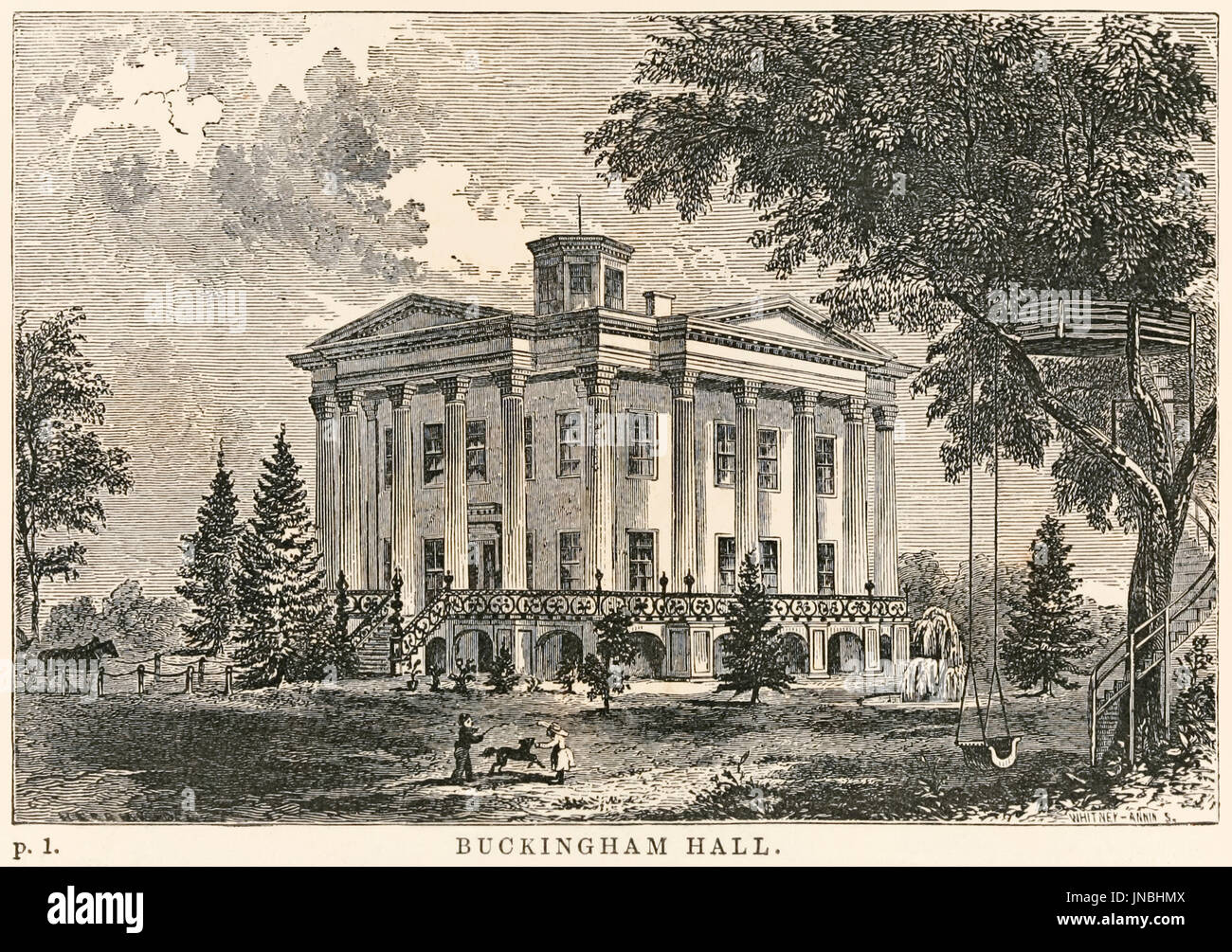 """Buckingham Hall"" illustration from 'Uncle Tom's Cabin Contrasted with Buckingham Hall' by Robert Criswell in which Julia Tennyson, an abolitionist and writer from the North who has published pamphlets against the cruelty of slavery; falls in love with Colonel Buckingham a southern plantation owner and both enter into philosophical discussions regarding American slavery. - Stock Image"