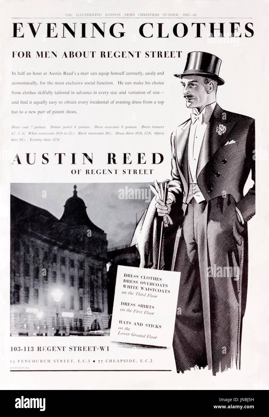 Evening Clothes For Men About Regent Street Full Page 1937 Stock Photo Alamy