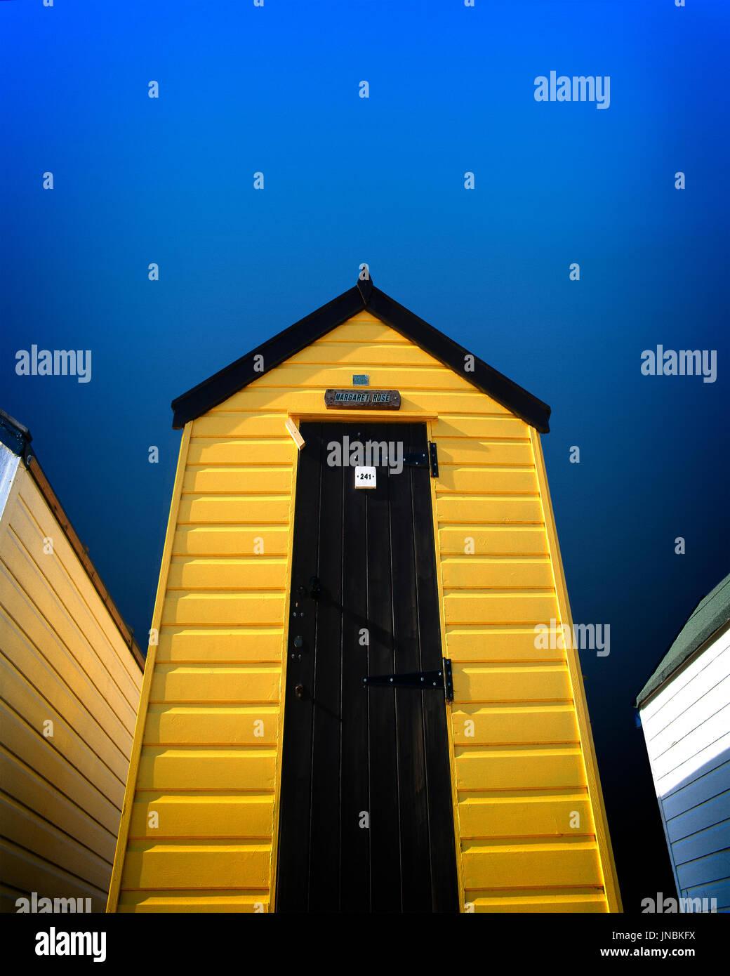 DIGITAL ART: Traditional English Beach Hut - Stock Image