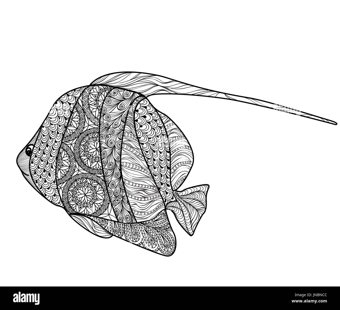 Fish tattoo isolated with ornamental hand drawn pattern. Doodle ...