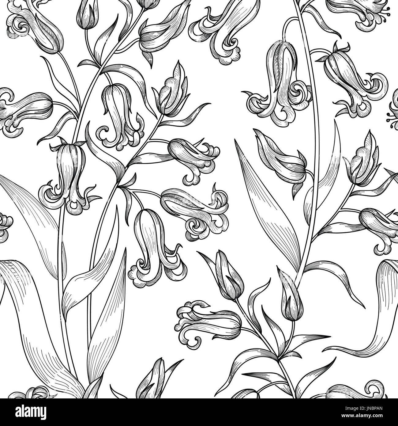Floral Seamless Pattern Flower Background Tile Ornamental Texture With Flowers Spring Flourish