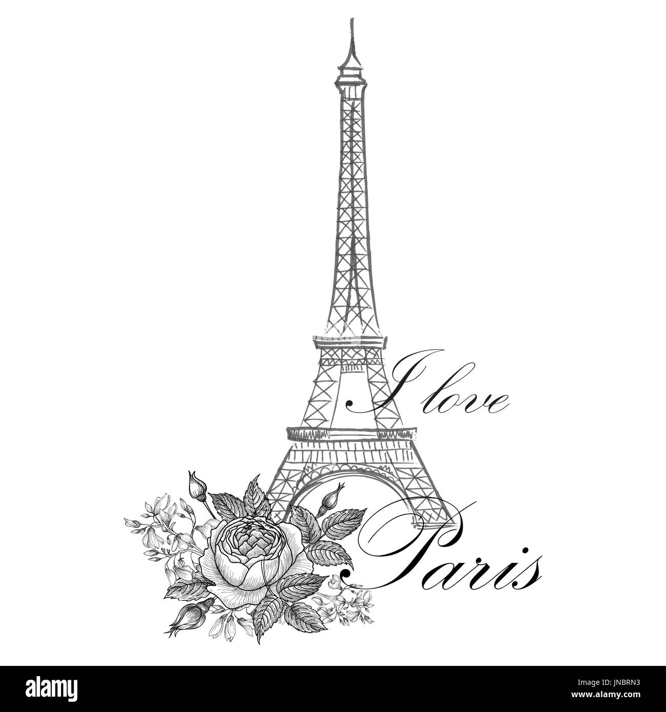 Paris sign. French famous landmark Eiffel tower. Travel France label. Paris architectural icon with lettering Stock Photo