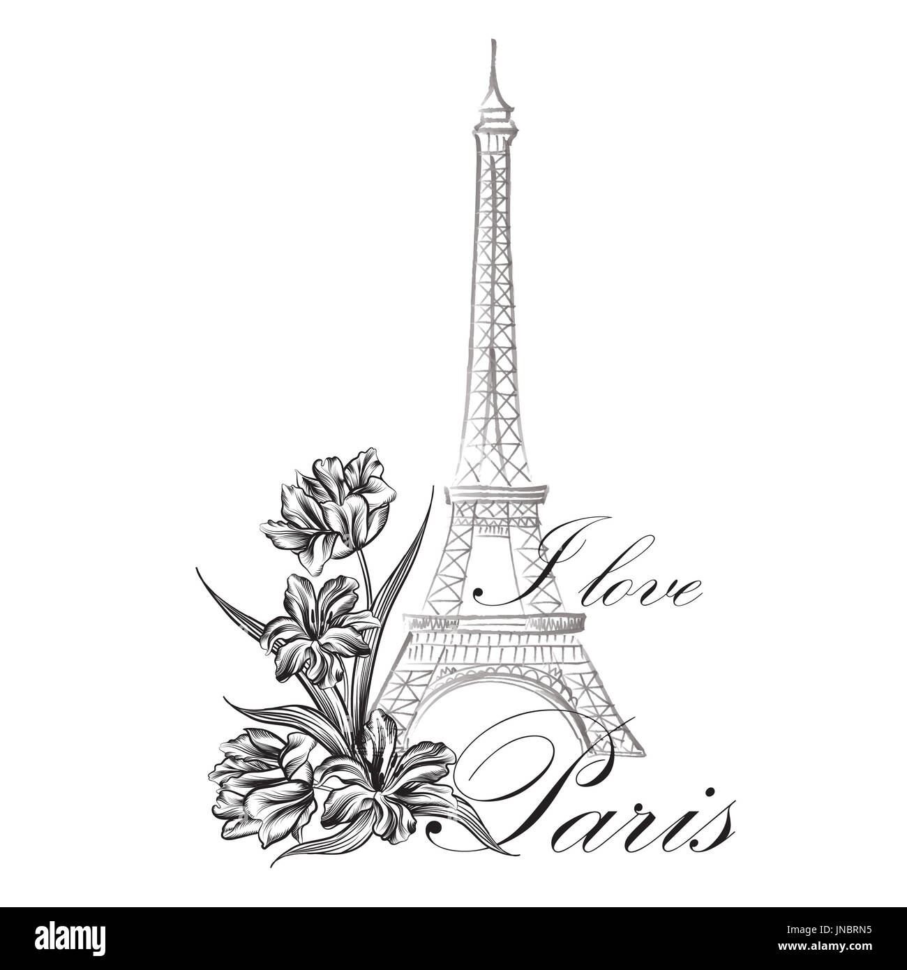 Paris sign. French famous landmark Eiffel tower. Travel France label. Paris architectural icon with lettering - Stock Image