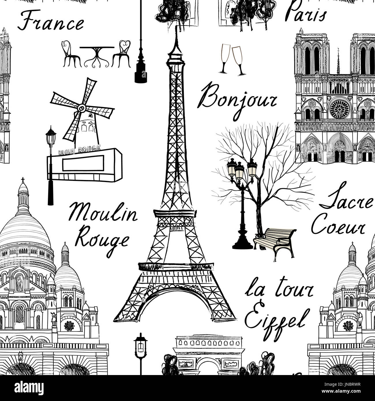 Travel Paris seamless pattern. Vacation in Europe wallpaper. Travel to visit famous places of France background. Landmark tiled grunge pattern. - Stock Image