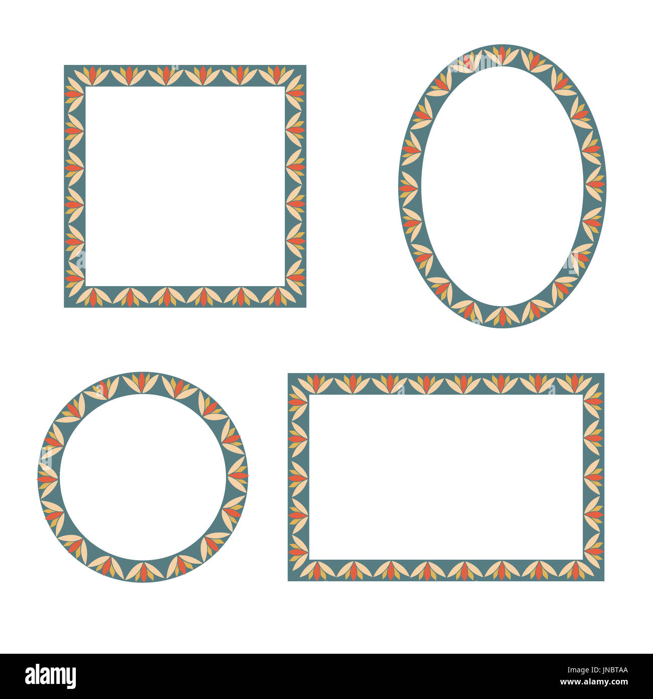 Frame set. Different shape frames in doodle style. Retro border and ...