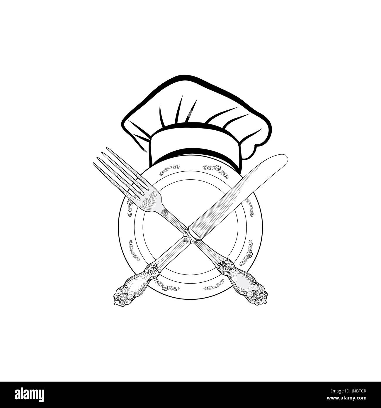 Chef cook hat with fork and knife hand drawing sketch label. Cutlery icon. Vector Catering and restaurant service insignia. Restaurant symbol chef coo - Stock Image